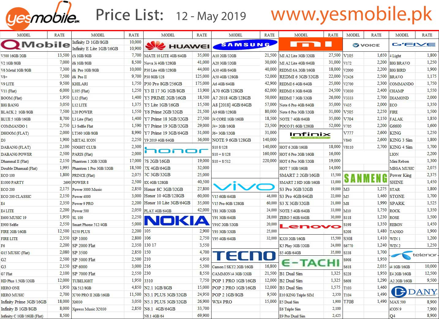 12 may 2019 yes mobile price list
