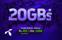 4G MONTHLY ULTRA Telenor Offer provides 20GB in Rs. 450