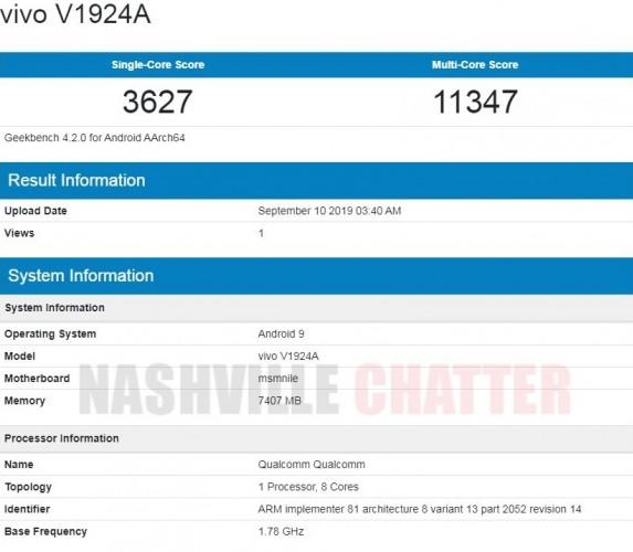 5G smartphone Geekbench Vivo NEX 3 5G benchmark flagship smartphone