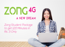 Activate Zong Student Package to get 120 Minutes in Rs. 3 Only