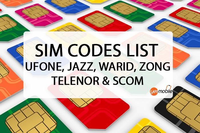 Sim Codes List Ufone, Jazz, Warid, Zong, Telenor & SCOM