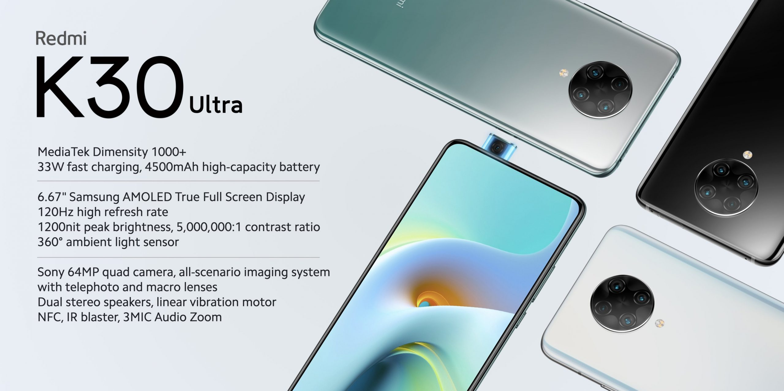 Redmi K30 Ultra with 6.67″ AMOLED, 120Hz refresh rate, Dimensity 1000+ SoC Official !