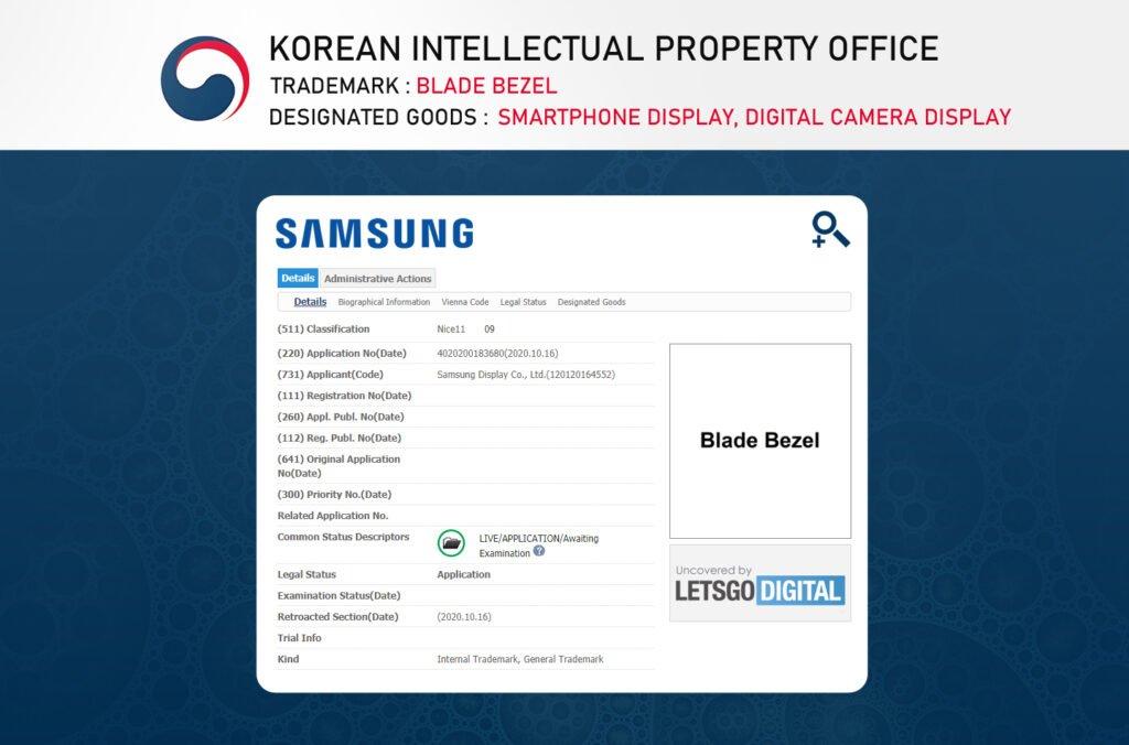 Samsung Display Blade Bezel Trademark