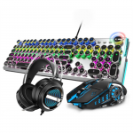 Retro Cyberpunk Style Gaming Set with Mechanical Keyboard, Mouse and Headphone on Sale for $69.99